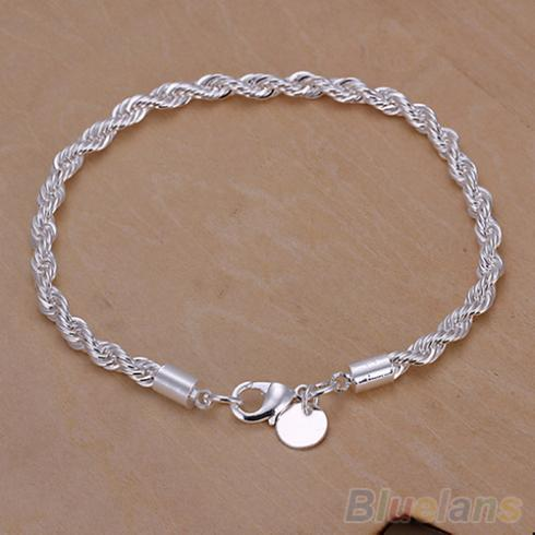 Elegant Silver Plated Twisted Rope Design Bracelet Bangle Chain 2JJV(China (Mainland))