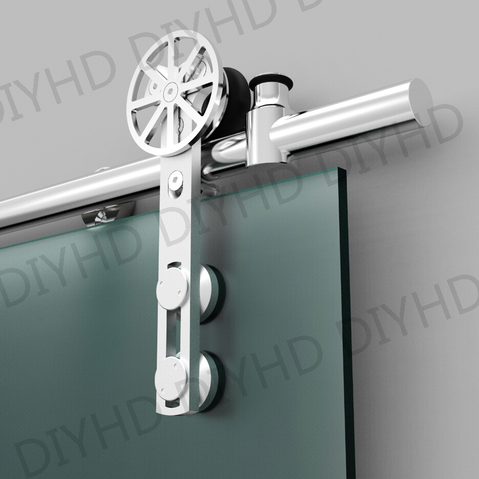 European style stainless steel sliding barn glass door hardware sliding barn track hardware with movable decoration ring(China (Mainland))