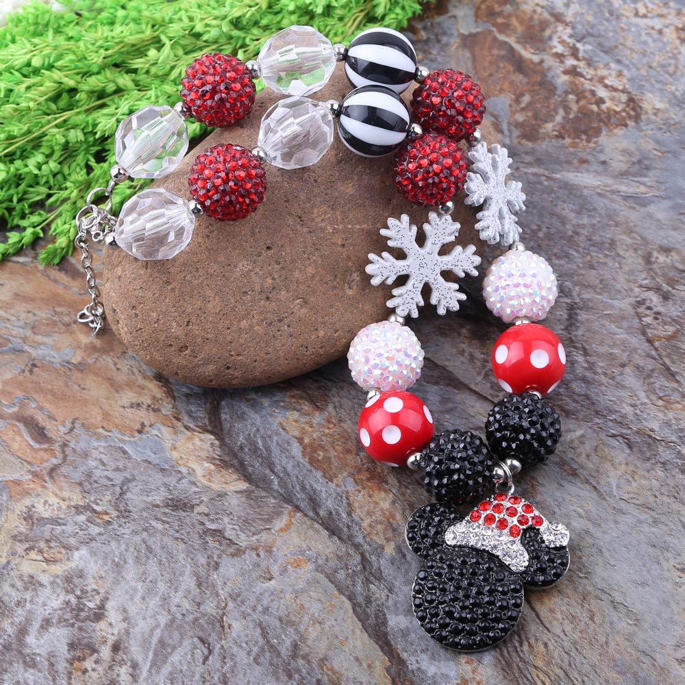 Hot Sell Free Shipping Cordial Design Kids Jewelry Handmade Chunky Bubblegum Bead Alloy Pendant Necklace Christmas Style(China (Mainland))
