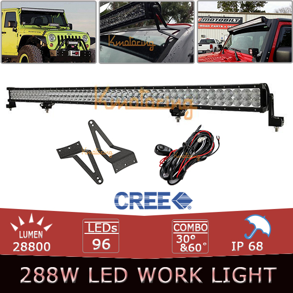 50inch 288W Cree LED Work Light Bar Set Spot Flood Combo beam Offroad Driving Lamp + Bracket For Ford F-250/350/450 Excursion(China (Mainland))