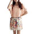 New Hot Women Casual Dress Patchwork Short Sleeve Floral Print Summer Chiffon Dress