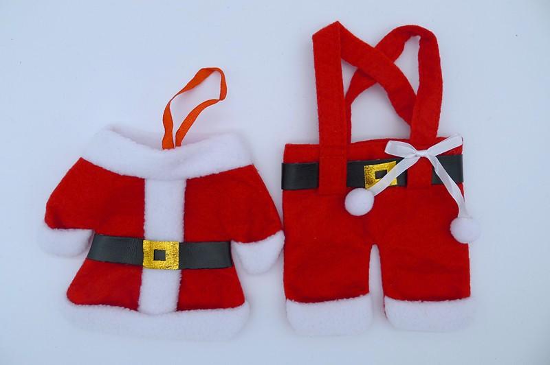 Decoração cultery talheres faca garfo roupa de papai noel do natal estilo capa para festa de Natal decoração suprimentos