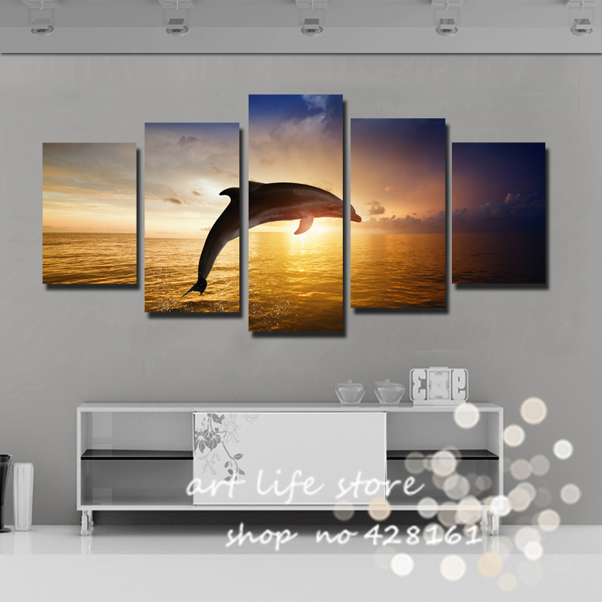 Modern 5 Panels Painting Canvas Wall Art Picture Home Decoration Lovely dolphin show Act Swim Jump Sea Canvas Prints(China (Mainland))