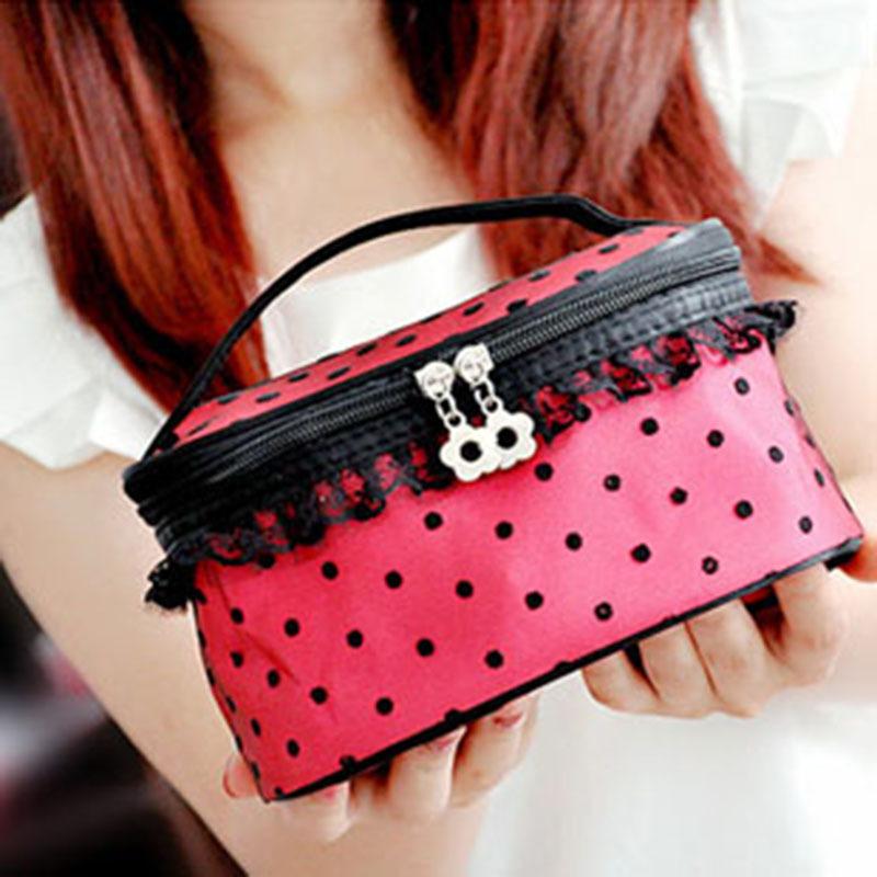 Wholesale Women Cosmetic Bag Travel Makeup Make up Storage Organizer Box Beauty Case With Small Mirror 100pcs(China (Mainland))