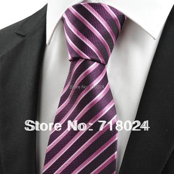 2014 New Mens Purple Ties Stripe Silk Woven Men's Tie Necktie Free shipping