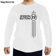 Jenson 버튼 번호 22 hoodie formula 1 드라이버 shubuzhi t 셔츠 남성면 tshirts 긴 소매 티셔츠(China)