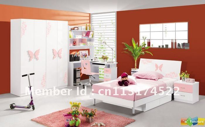 4 Pcs New Full Size Bedroom Set MDF Panels Children Furniture 4 Doors Wandrob