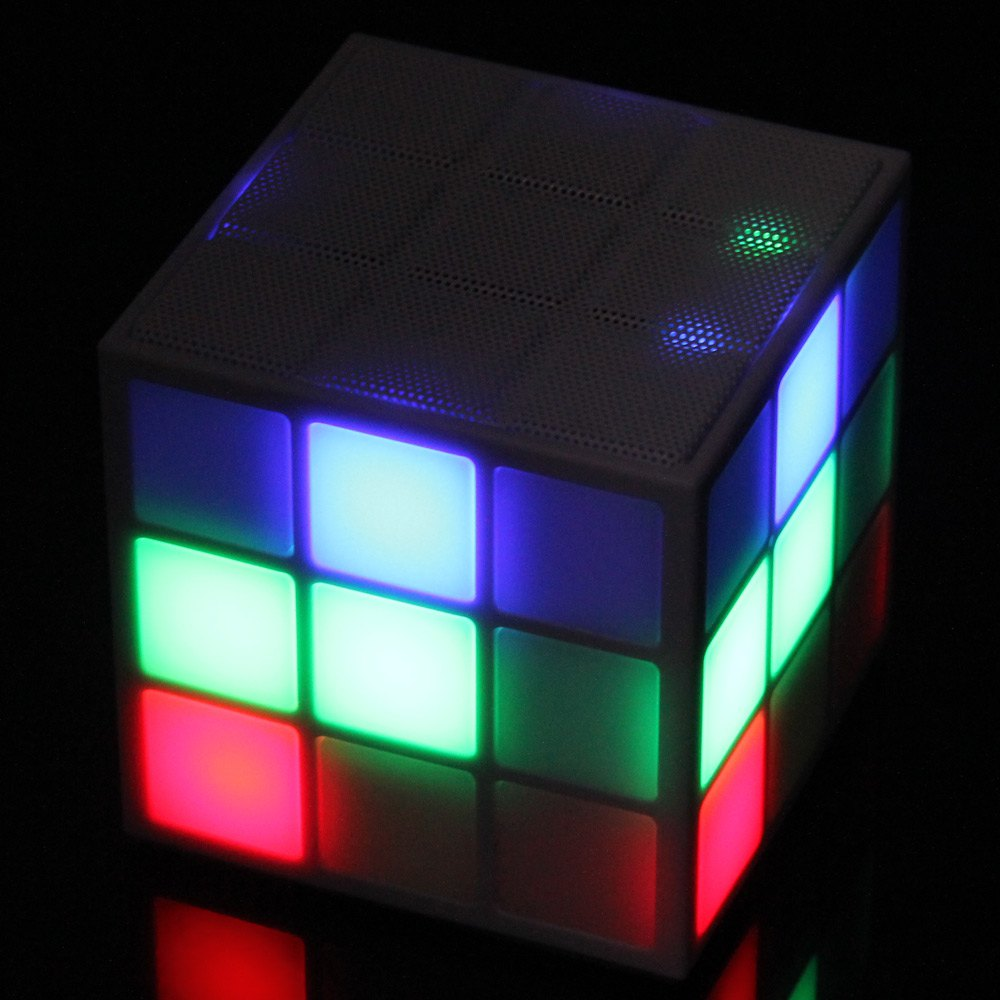 6625 Portable Stylish Magic Cube Bluetooth 2.1 Speaker with Shining LED Light 6 Light Modes Supports Laptop Mobile Phone MP3