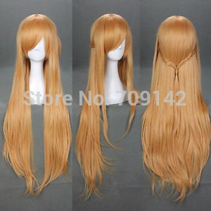 34 COS Vocaloid Light Brown Sword Art Online Asuna Yuuki Anime Cosplay Wig queen no lace front wigs fast deliver<br><br>Aliexpress