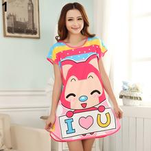 New Women's Cartoon Polka Dot Sleepwear Short Sleeve Cute Nightdress 5LOP 7FW2