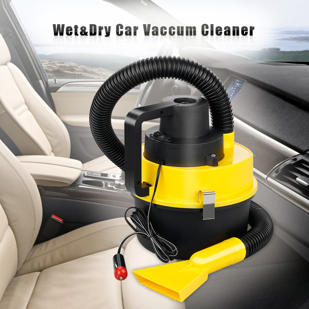 Portable 12V Wet Dry Car Vacuum Cleaner Handheld Mini Auto Car Dust Aspirador with Brush Crevice and Nozzle Head(China (Mainland))