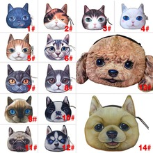 Cat Dog Pet Face Women Coin Wallet Purse Mini Bag Kids Coin Purse Pouch Women Wallets Coins Bags High Quality(China (Mainland))