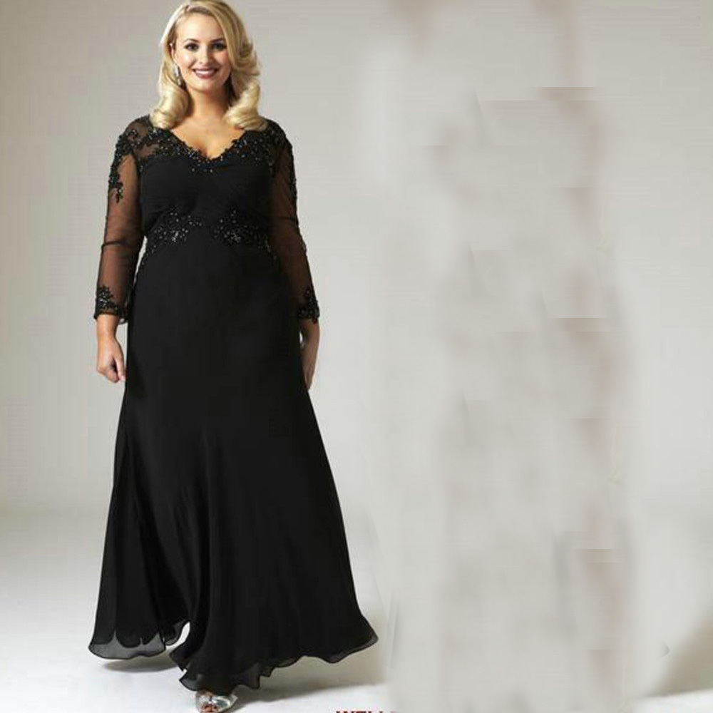 2015 mother of the bride dresses for plus size black a line chiffon
