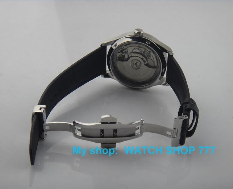 2016 новая мода 44 мм PARNIS Автоматические Self-ветер движение мужские часы высокое качество с Бабочкой застежка x0008
