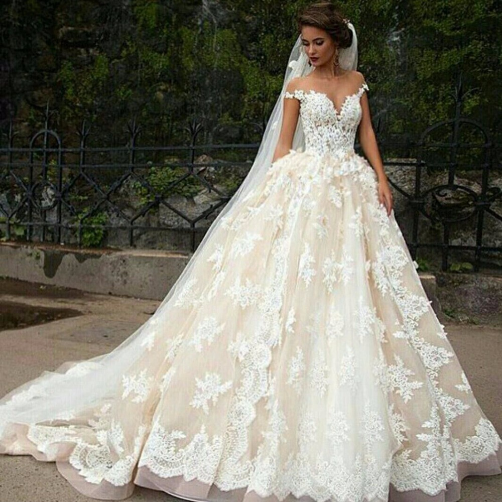 Buy champagne princess wedding dress for Champagne lace short wedding dress