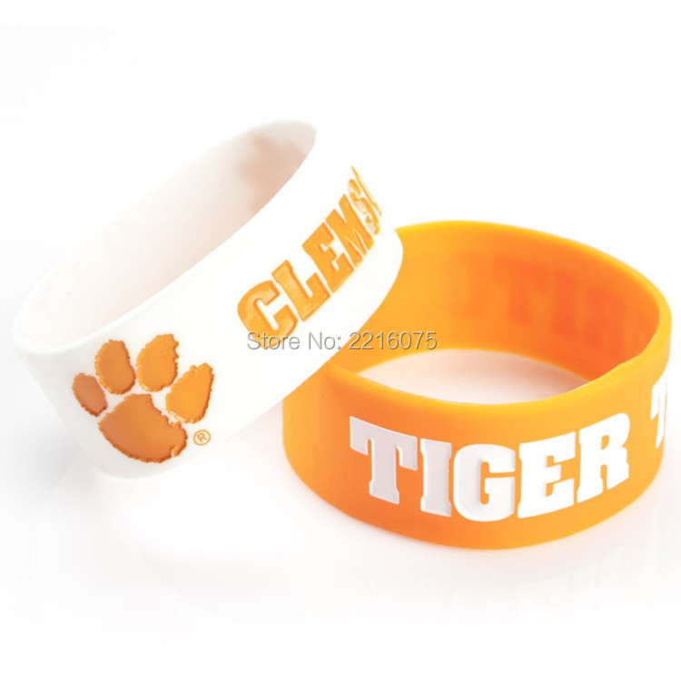 300pcs One inch NCAA Clemson Tigers wristband silicone bracelets free shipping by FEDEX express(China (Mainland))