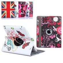 New Arrive 9.7 Inch 360 Rotating Flower Butterfly Tablet Covers Flip Leather PU Case For Apple iPad 2 3 4 With Stand Phone Case(China (Mainland))
