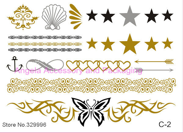 2014 Hot Metallic Flash Tattoos Temporary Gold/Silver Body Jewelry Sticker Deco Non-toxic Waterproof Unpacked C-2 - Angela Accessory and Packaging store