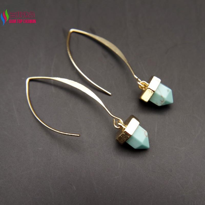 new arrival gift earrings fashion designer blue taxture spike turquoise drop earrings for women brincos de gota feminino(China (Mainland))