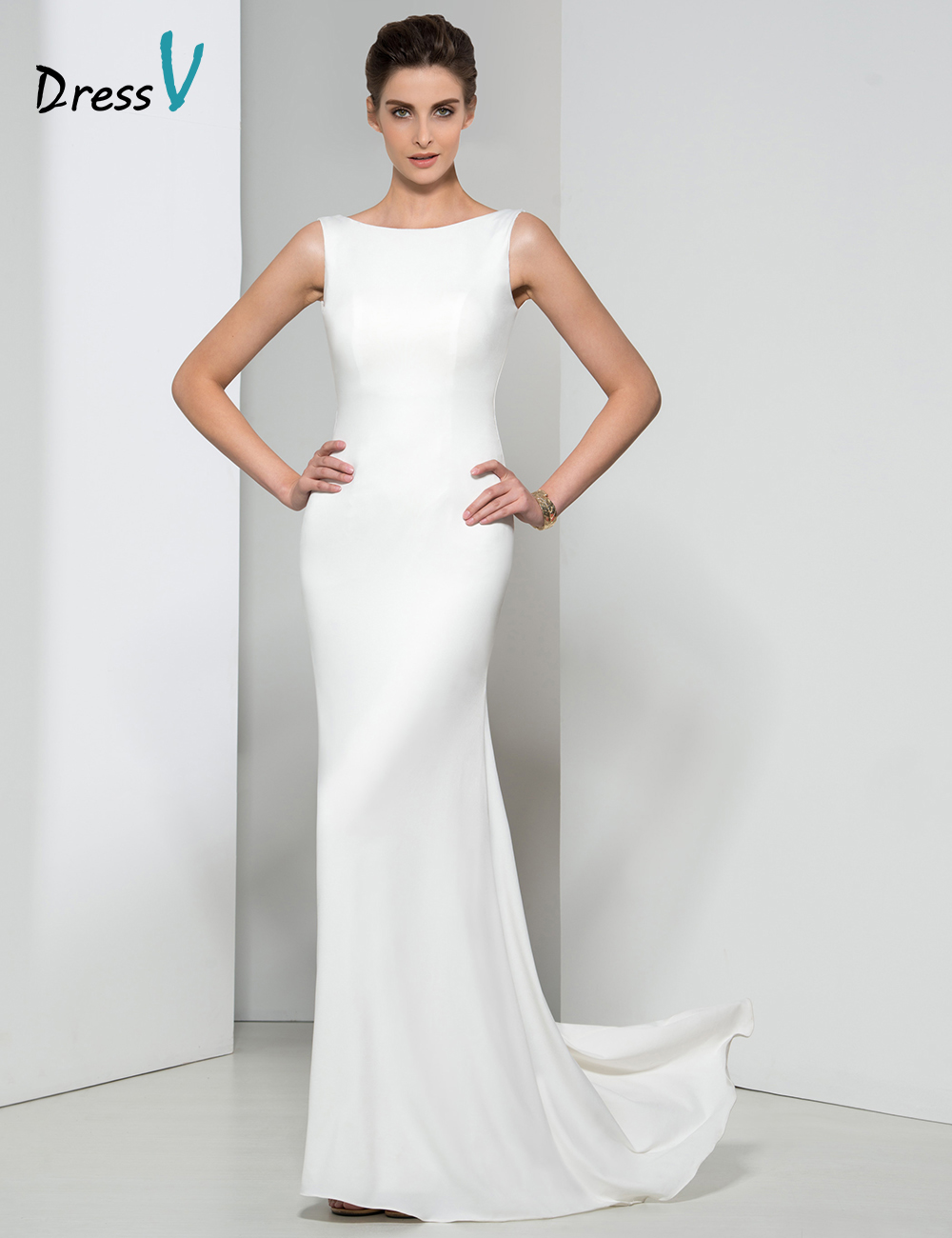 Popular Long White Evening Dress with Train-Buy Cheap Long White ...