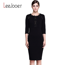 LEEJOOER Women Elegant Autumn Dress Winter Fashion Dresses Women Casual Sexy Office Work Dress Plus Size Women Clothing(China (Mainland))
