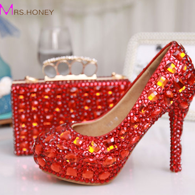 Glitter Red Crystal Bridal Wedding Dress Shoes Party Evening Dress Shoes Party Prom High Heels with Matching Crystal Clutch Bag(China (Mainland))