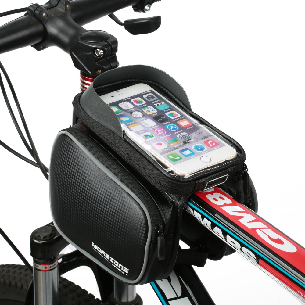 New Waterproof Cycling Bike Bicycle Front Bag Top Tube Frame Bag Pannier Double Pouch for 4 - 5.5 inch Cellphone Phone(China (Mainland))
