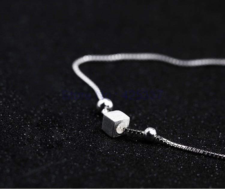 Мода Стерлингового Серебра 925 Геометрические Квадраты Ножные Браслеты Женщины Шарм Марка Ювелирных Изделий Бесплатная Доставка (SA027)