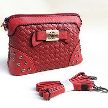 New Womens PU Leather Handbag Fashion Lingge Shoulder Bag Clutch Tote Purse Hobo Messenger Double Metal Bow