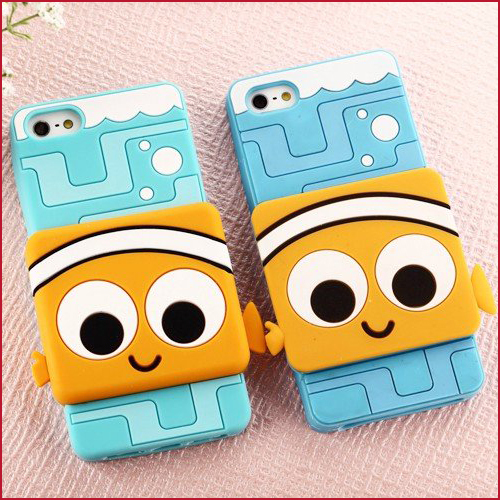 2014 Toy Store 3 Series Cell Phone Accessory 3D Cartoon Soft Silicon Pixar Case Clownfish Sangan Case for iPhone 5 5S(China (Mainland))