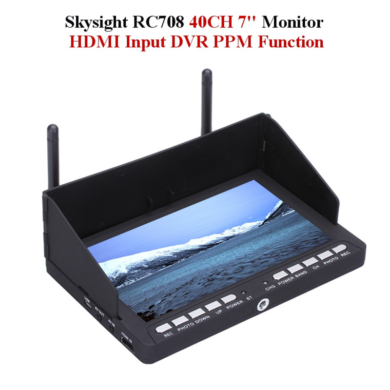 High Quality Skysight RC708 5.8G 40CH Diversity Rx 7 Inch Monitor HDMI Input DVR Display Ppm Support Fatshark ImmersionRC(China (Mainland))