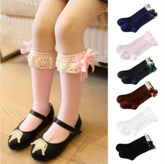 Fashion Girl Stockings Children Kids Autumn Cotton Bow Lace Sock Meias Meninas Knee High Socks Chaussette Haute Fille - Yiwu Ino E-Commerce Co., Ltd. store