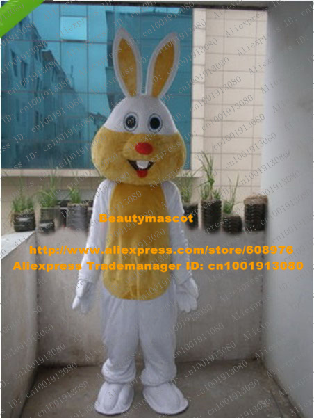 Likable White Easter Bunny Rabbit Mascot Costume Mascotte Jackrabbit Hare Lepus Adult With Long Yellow Ears No.1007 Free Ship(China (Mainland))