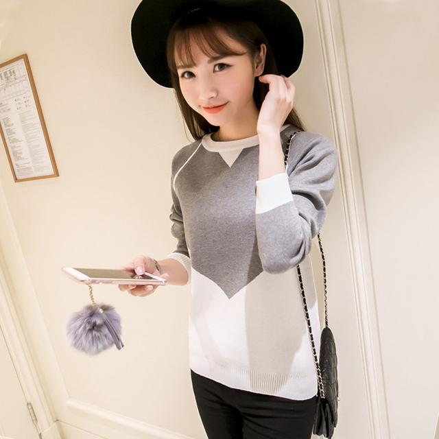 Весна 2016 милый свитер женщин с длинным рукавом о шеи вязание пуловер лоскутное ...