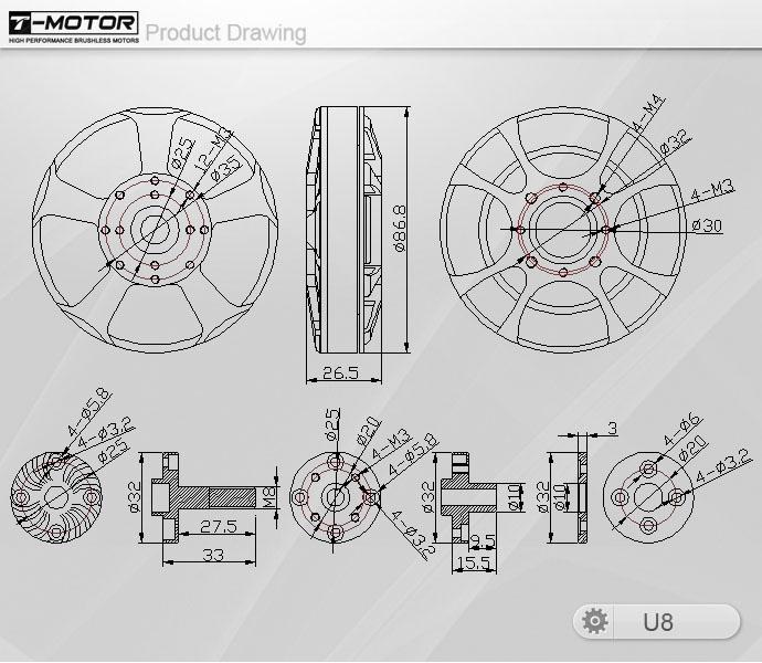 T-Motor Tiger Motor U8 100KV/135KV/170KV U-Power Professional Motor 6-12S for RC Drone Quadcopter Multicopter