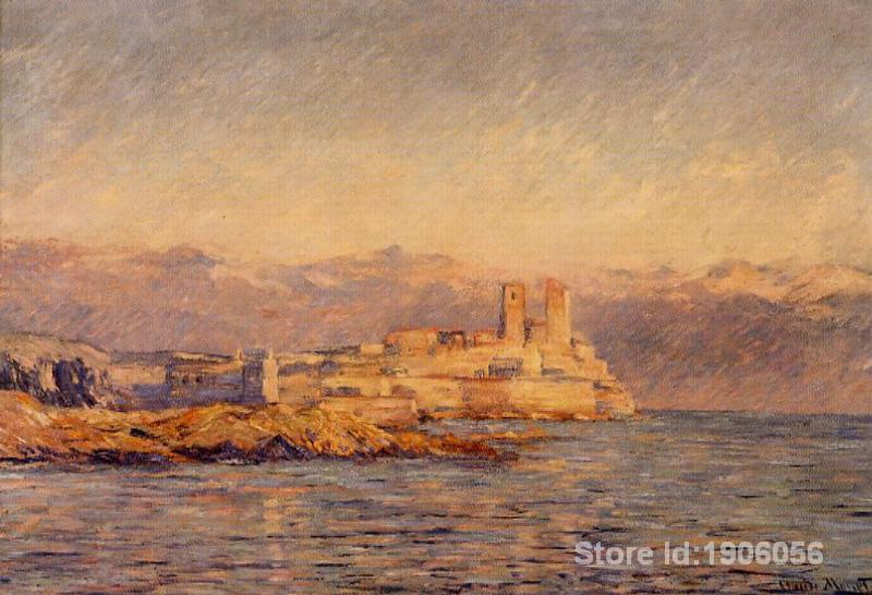 Free shipping, Claude Monet decoration oil painting, The Castle in Antibes - famous artist reproduction(China (Mainland))