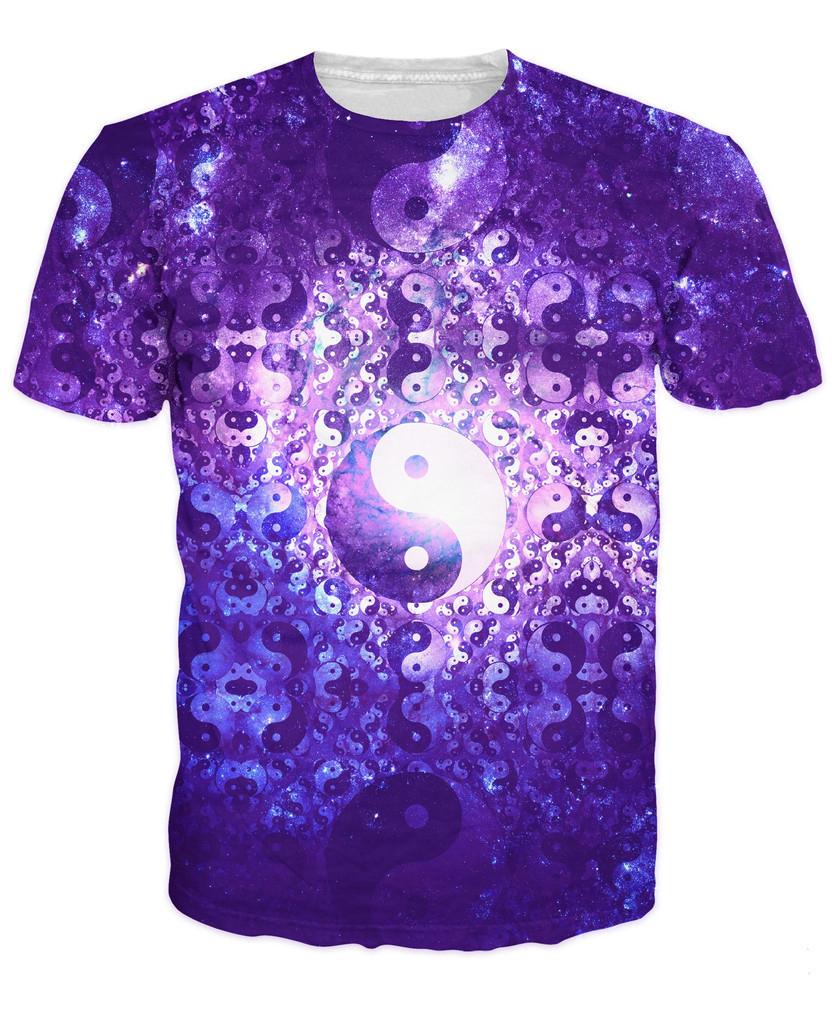 trippy yin yang themed cosmic karma t shirt spiritual