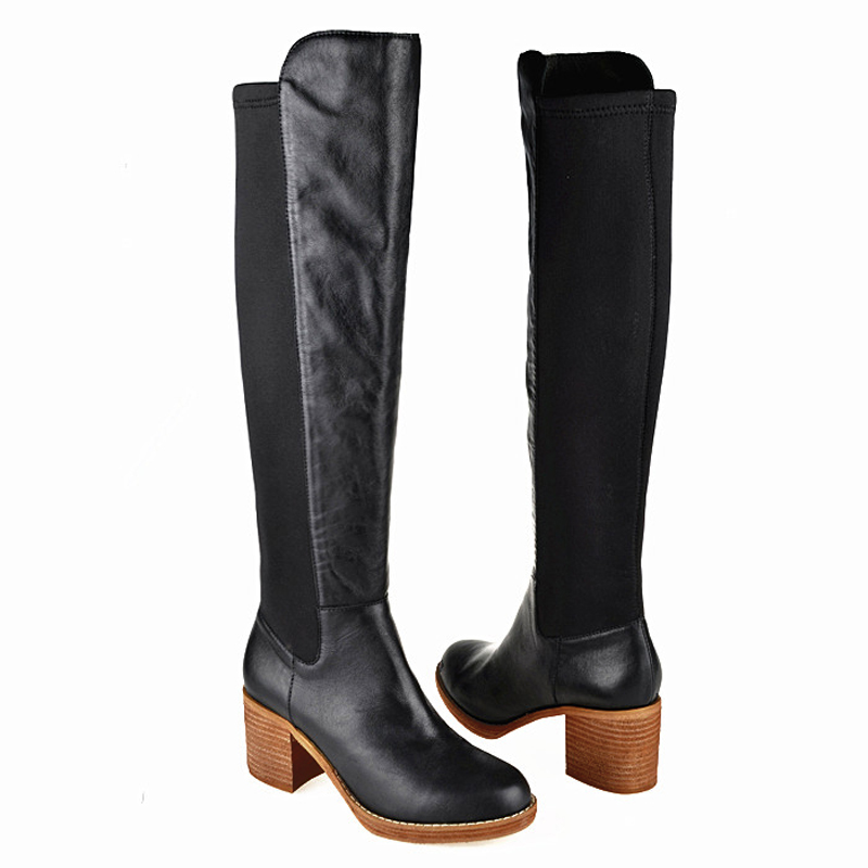 Euro Fashion Genuine Leather Over The Knee Boots Ladies Elastic Slim Booties Women Shoes Winter Chunky Heels Thigh High Boots<br><br>Aliexpress