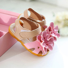 free shipping 2016 Summer baby sandals for girls flower shoes PU casual first walkers 4 colors(China (Mainland))