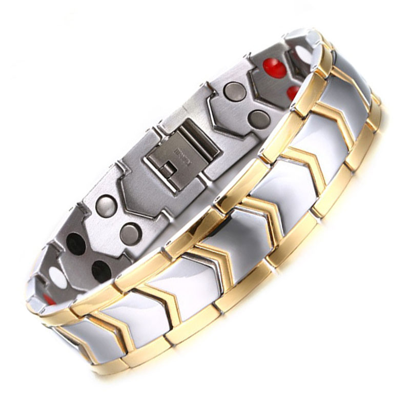 Men Silver and Gold Titanium Bracelet Double Row Energy Power Bead Health Magnetic Bracelet Arrowhead Design Wide Hand Wrist(China (Mainland))