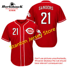 Deion Sanders Jersey 2016 Men Baseball Jerseys 21 White Gray Red Embroidery Logo Name Number(China (Mainland))