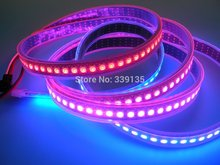Buy ws2812b ws2811 led digital strip light;144leds/m 144pcs WS2811 IC built-in,2M/roll,DC5V,Black PCB,Waterproof silicon tube for $45.89 in AliExpress store