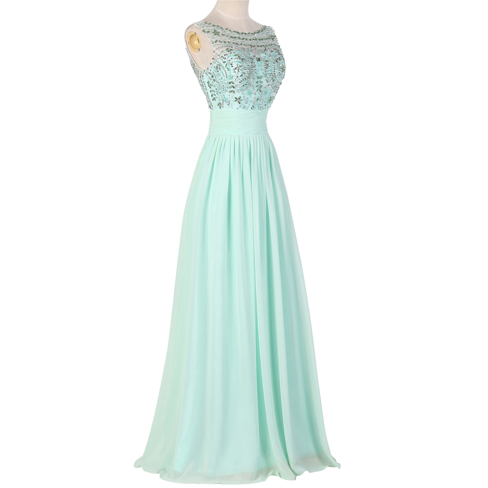 New Fashion 2015 Sleeveless Mint Green Chiffon Long Bridesmaid Dresses SequinsampBeaded Wedding