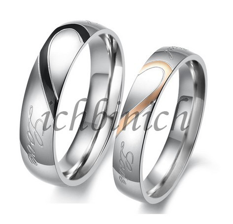 1pcs Titanium Steel Heart Shape Puzzle Couple Ring Titan Partner Ehe Verlobung Freundschaft Ringe Xmas Weihnachten Geschenk Gift(China (Mainland))