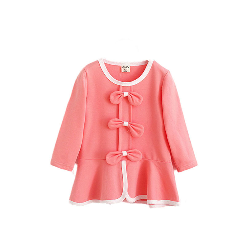 Child Kids Girl Princess Dresses Toddlers Clothes Bow Long Sleeve Dress 2-7Y(China (Mainland))