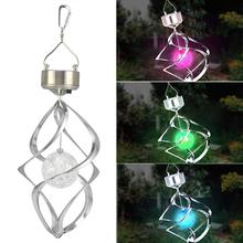 USA Delivery Solar Powered Spiral Wind Spinner With Colour Changing LED Light (China (Mainland))