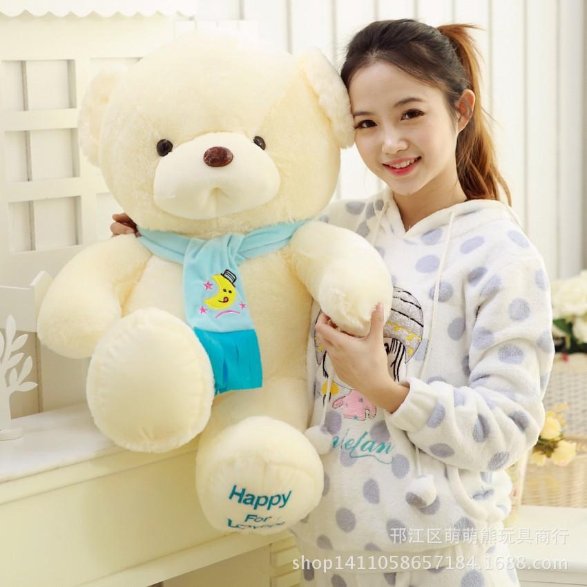30-60 cm Ivory White height Teddy Bear scarves bear, teddy bear lovers, baby bear plush toy birthday gift.(China (Mainland))