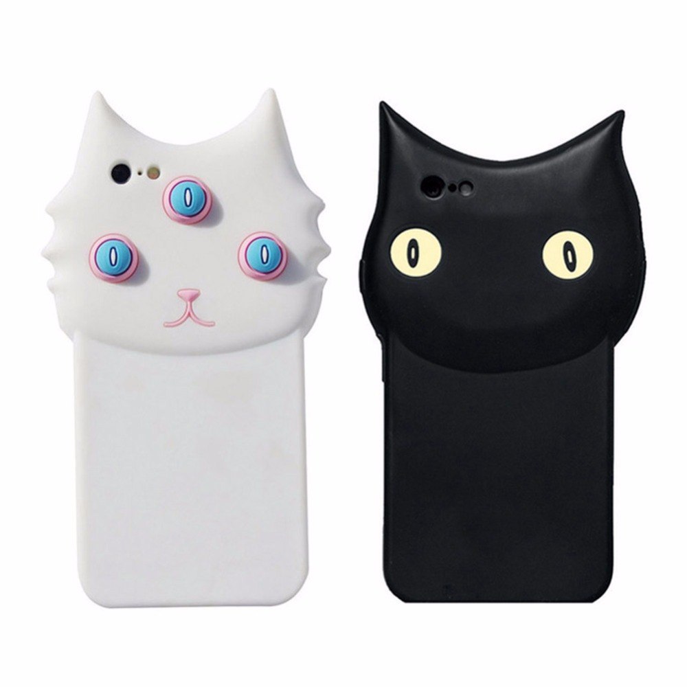 Black and white Cat Case Soft Silicone three eye cat silicon smart phone case(China (Mainland))