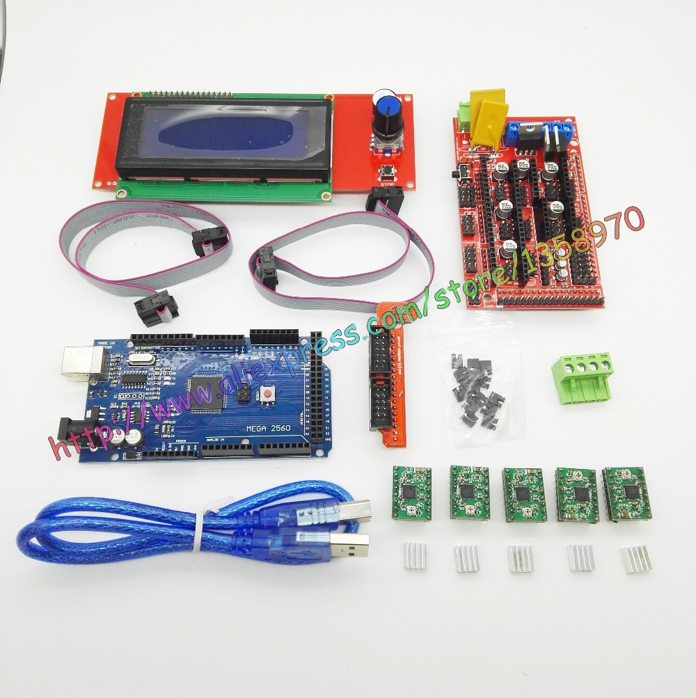 Здесь продается  1Pcs Mega 2560 R3+1Pcs RAMPS 1.4 Controller+5Pcs A4988(G) Stepper Driver Module /RAMPS 1.4 2004 LCD control for 3D Printer kit  Компьютер & сеть