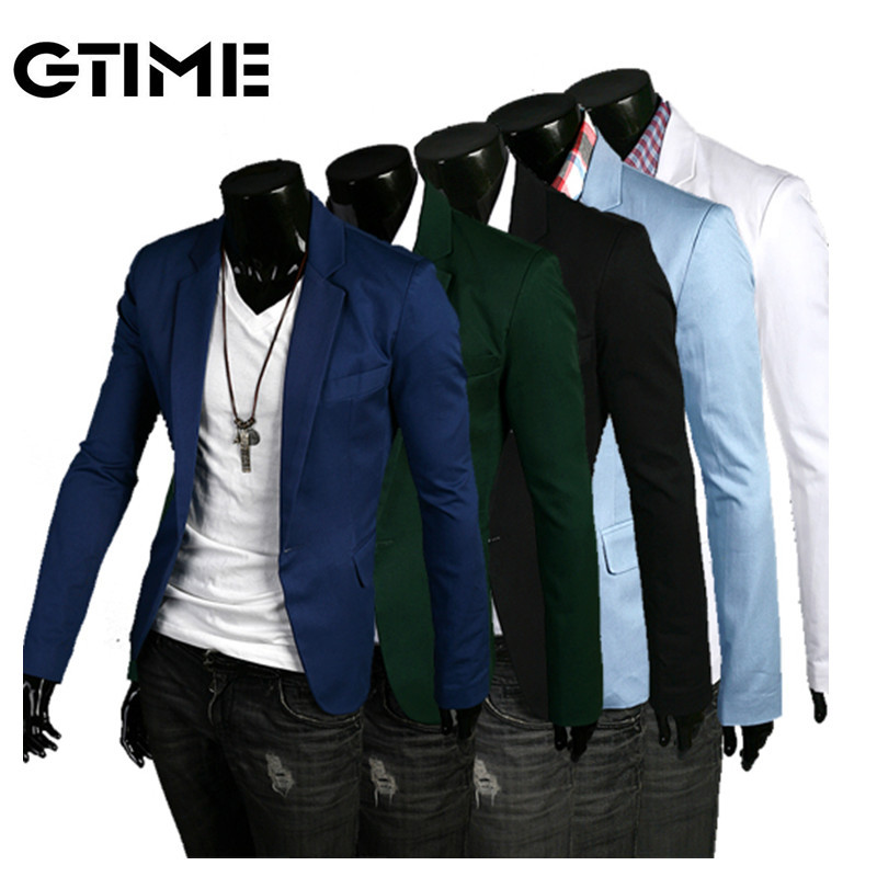 GTIME 2015 mens suit spring autumn slim cotton long sleeve stand collar jacket outwear coat size M-XXL #TM172 - Ningbo Good times Trading Co. Ltd. store